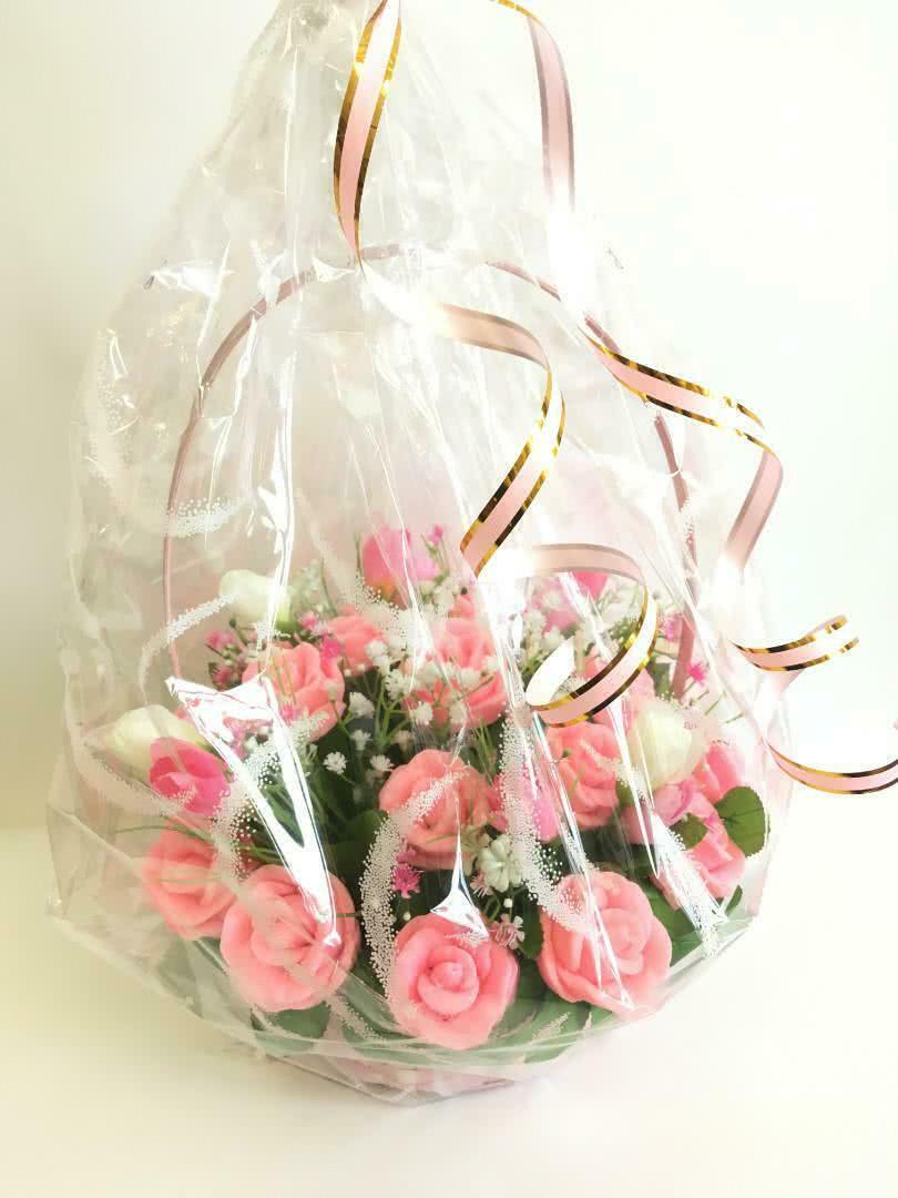 Ароматная Корзинка из мыла  «Розовые розы»