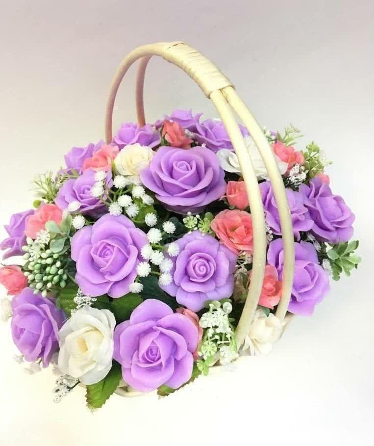Ароматный Букет из мыла «Корзинка с сиреневыми розами»