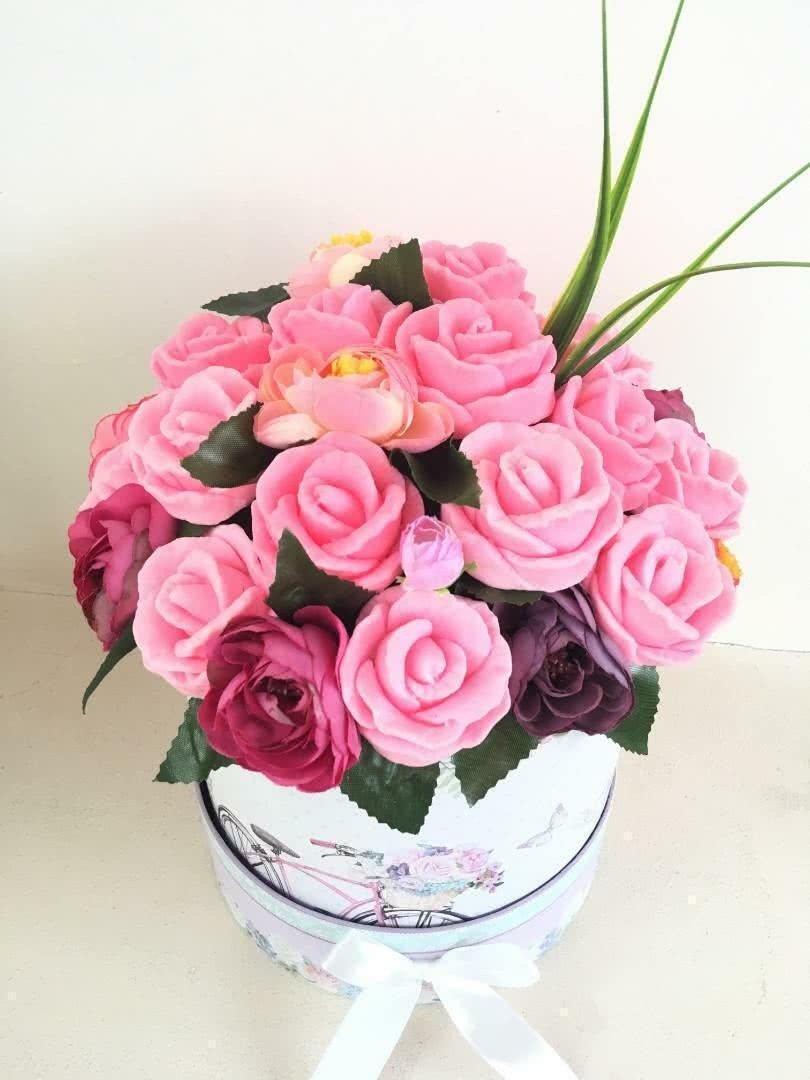 Букет из мыла «Нежно-розовые розы»