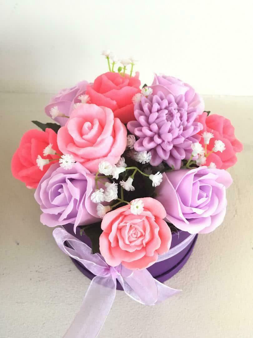 Букет из мыла «Розовые и сиреневые цветы»