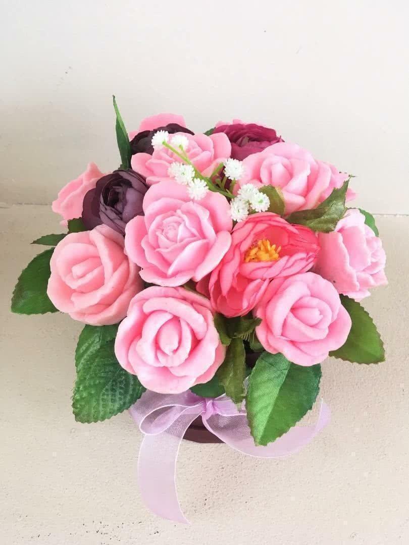 Букет из мыла «Розовые розы с декором»