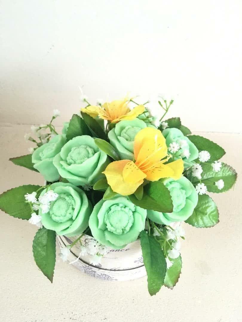 Букет из мыла «Зеленые розы»