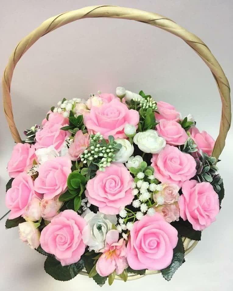 Корзинка из мыла «Нежно-Розовые розы»
