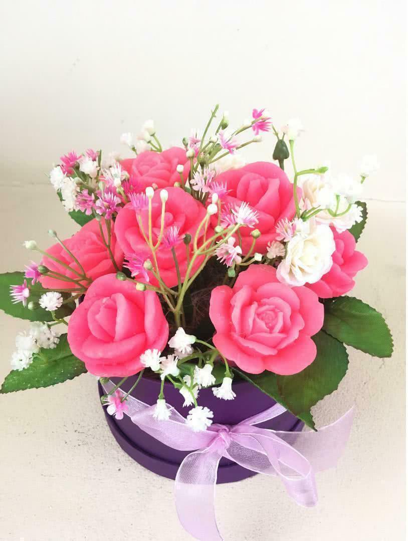 Мыльные цветы «Ярко-розовые розы»