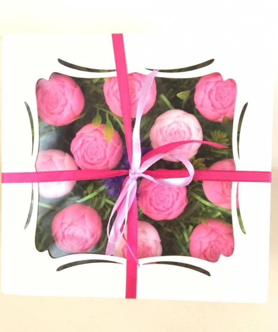 Мыльный набор «Розовые пионовидные розы» в коробке