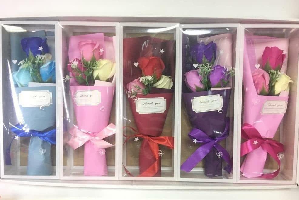 Разноцветный мыльный букет в коробке в ассортименте