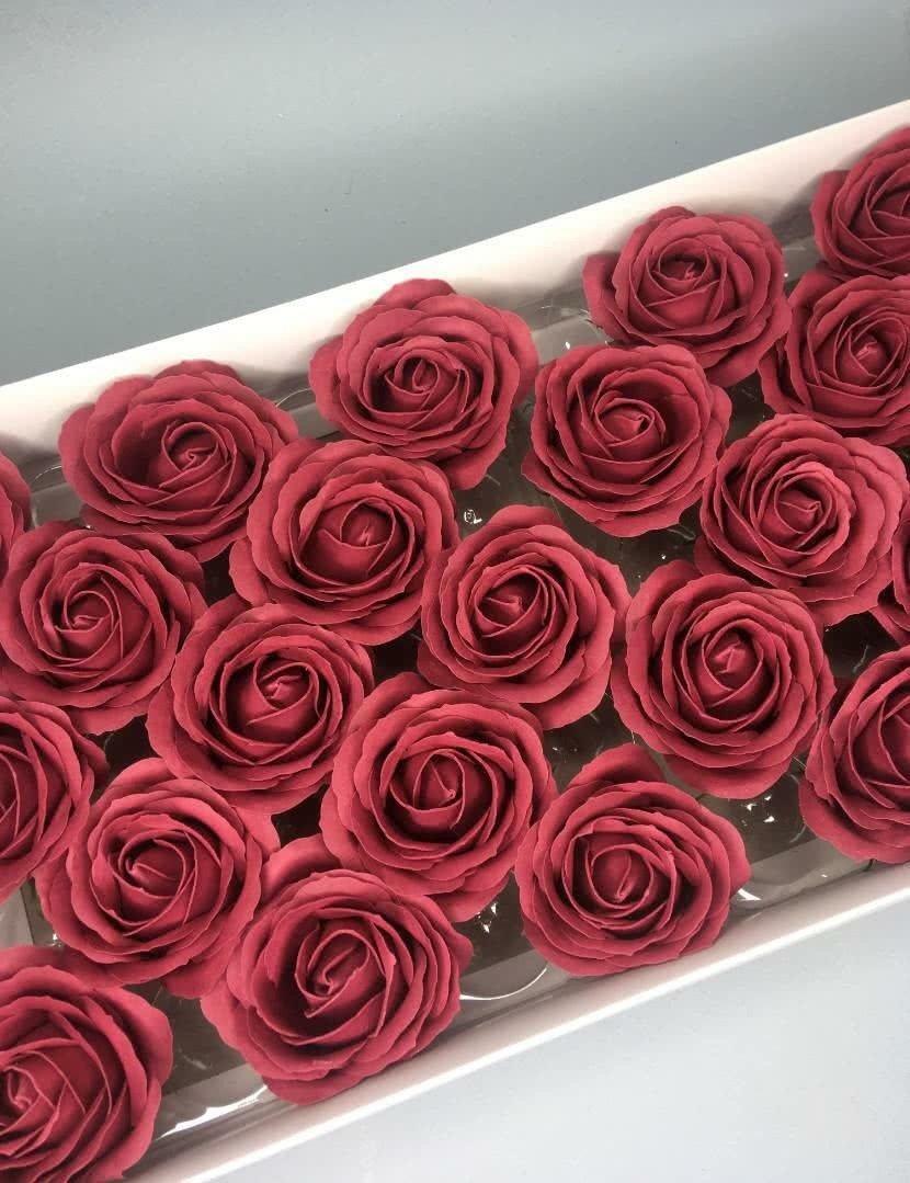 Роза крупная — бургундия 25 шт